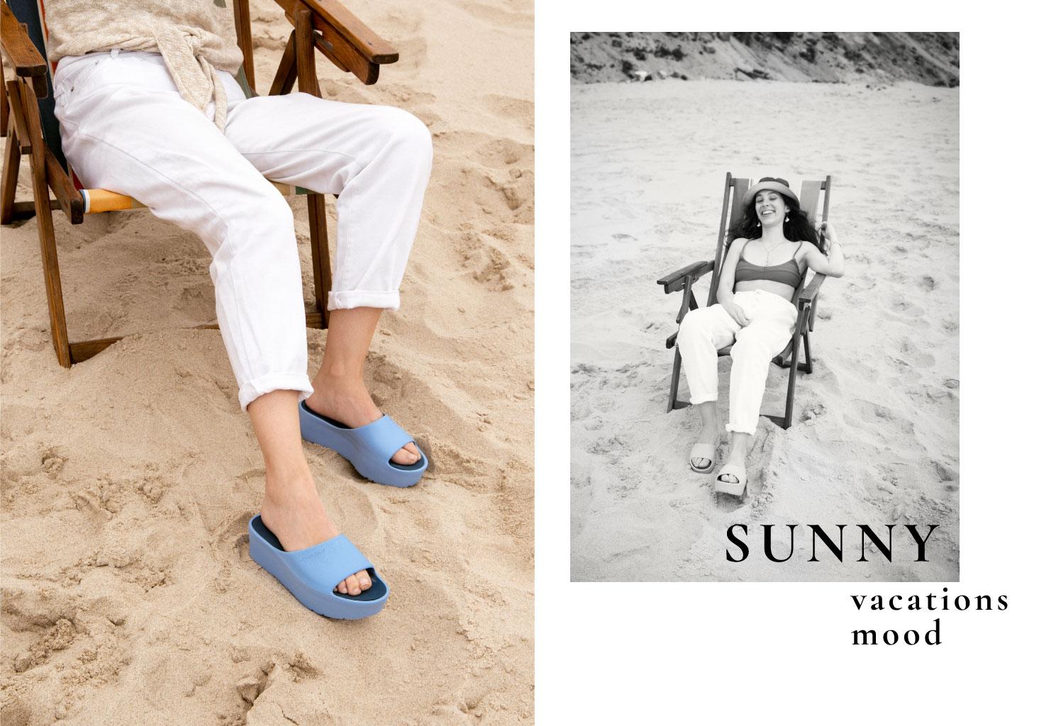 woman vegan blue slides Sunny