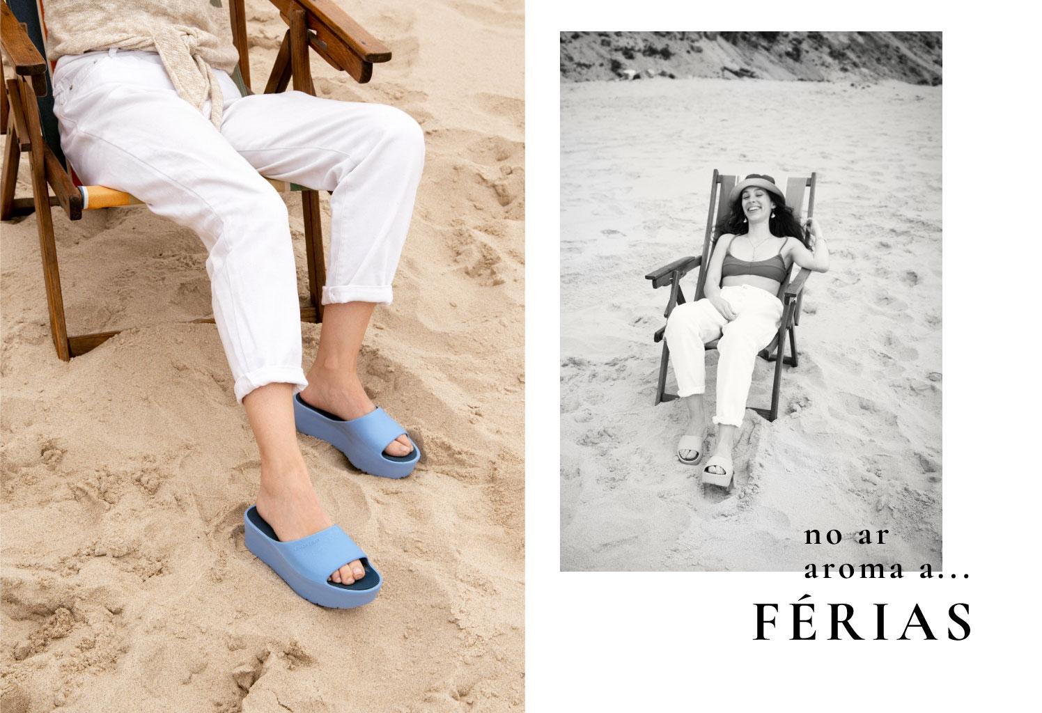 chinelos femininos azuis SUNNY moda verão 2020
