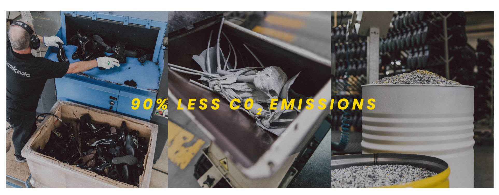 Recycled footwear with 90% less CO2