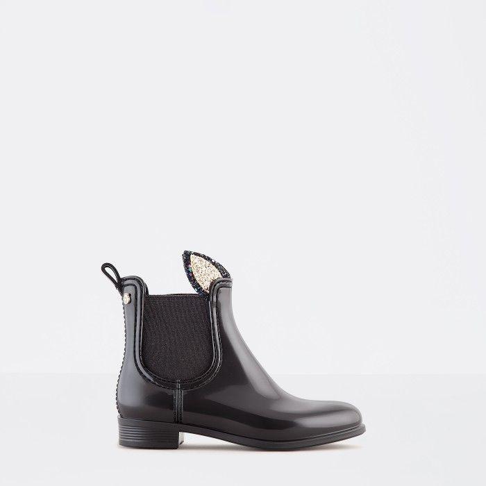 Lemon Jelly Black Rain Boots with Bunny Ears | Girl FAUN 09