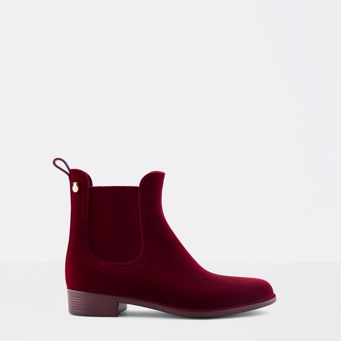 Lemon Jelly | Bordeaux Flocked Rain Boots | Women VELVETY 14