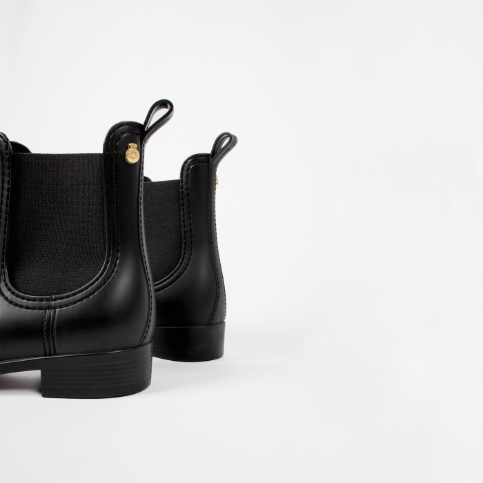 Lemon Jelly Vegan Black Matte Chelsea Rain Boots SPLASH 01