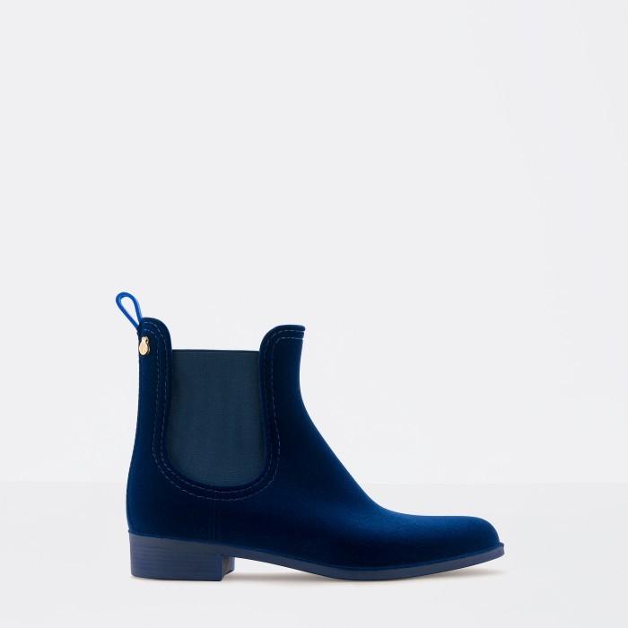 Lemon Jelly Blue Flocked Rain Boot | Women VELVETY 05