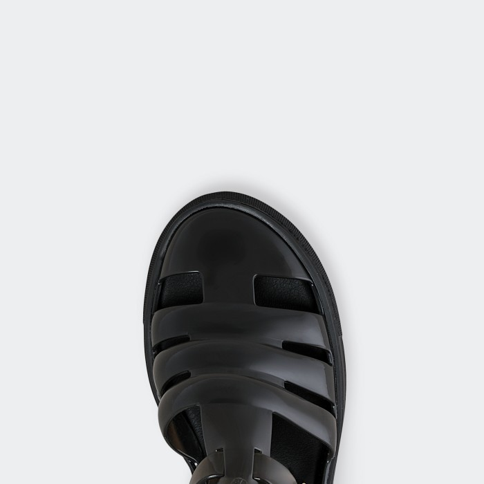 Lemon Jelly | Clear Black Fisherman Jelly Sandals CRYSTAL 01