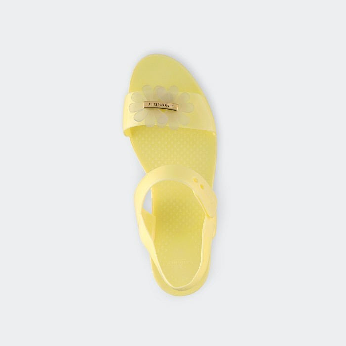 Lemon Jelly | Yellow Flat Jelly Sandals with Flower SPRING 05