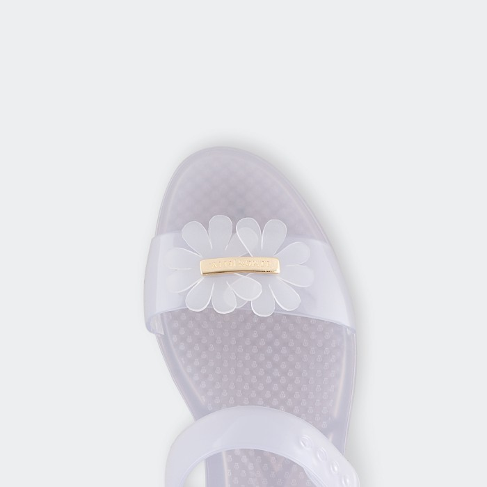Lemon Jelly | Clear Flat Jelly Sandals with Flower SPRING 06