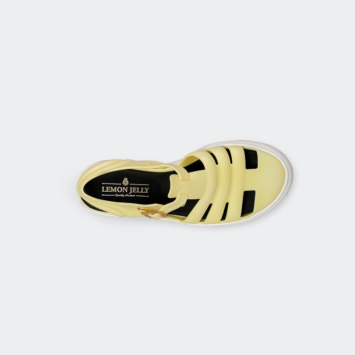 Lemon Jelly | Light Yellow Fisherman Jelly Sandals CRYSTAL 08