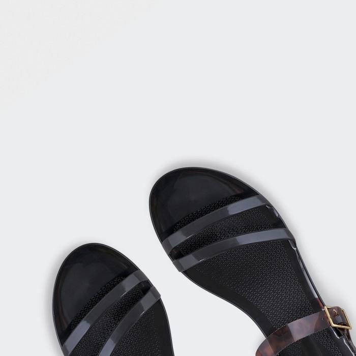 Lemon Jelly | Black Flat Jelly Sandals with Pattern TARTAN 01
