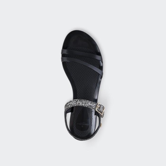 Lemon Jelly | Black Flat Jelly Sandals with Glitter STARY 01