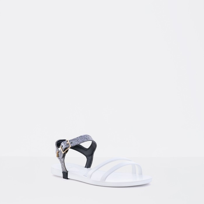 Lemon Jelly | White Flat Jelly Sandals with Glitter STARY 02