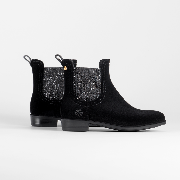 Lemon Jelly | Flocked Black Girl Ankle Rain Boots TARTINE 02
