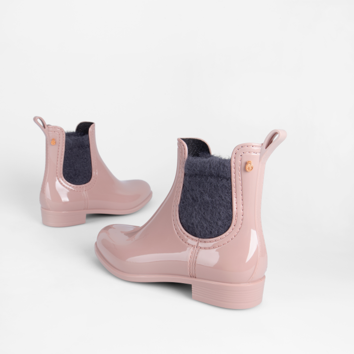 Lemon Jelly Pink Girl Ankle Rain Boots with Fur MACI 04