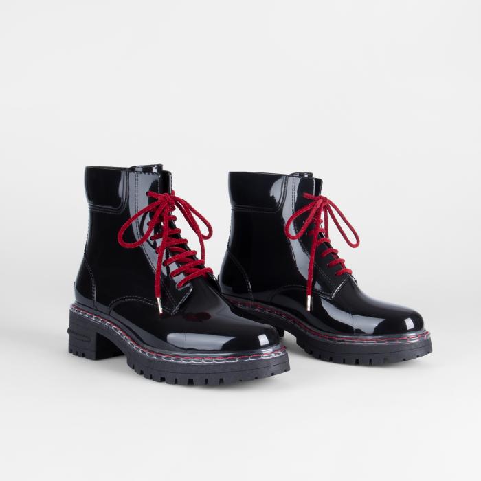 Lemon Jelly | Laced Up Black/Red Combat Boots | Women LANDA 06