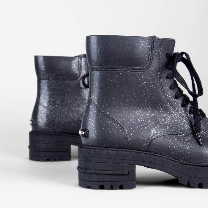 Lemon Jelly | Laced Up Black Combat Boots with Glitter ISBEL 01