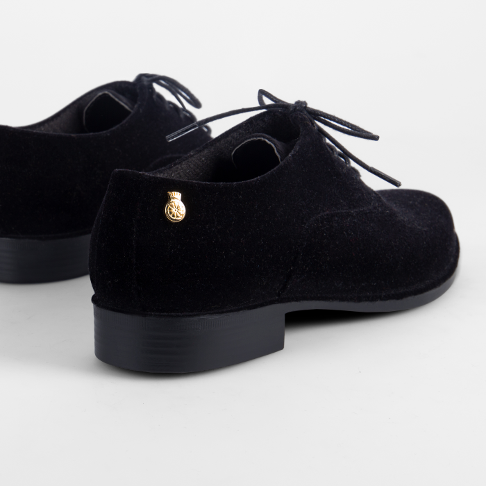 Lemon Jelly | Flocked Black Oxford Shoes for Woman DANY 01