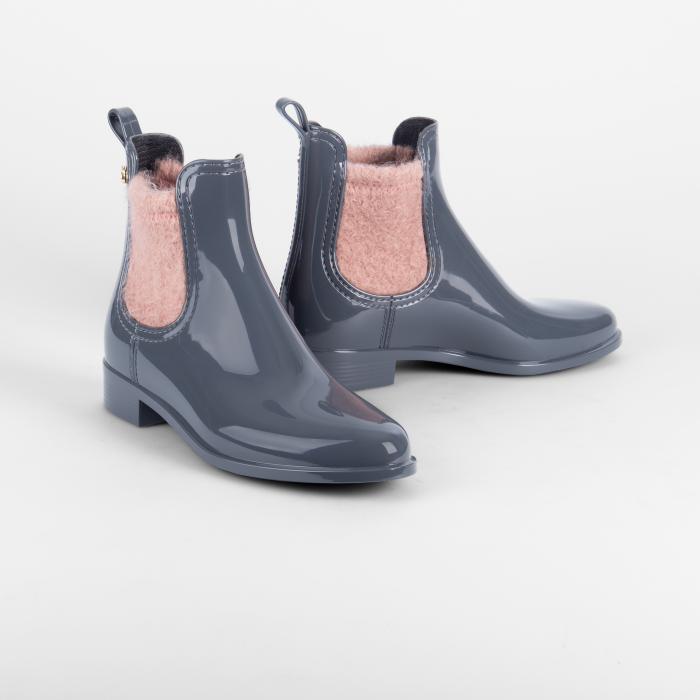 Lemon Jelly Grey Rain Boots with Felt  Jelly Shoes ADLEY 02