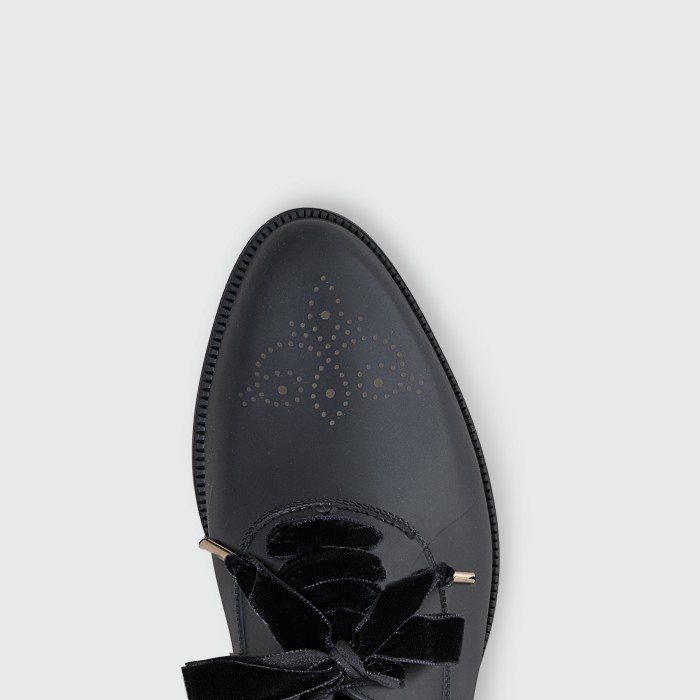Lemon Jelly Black Oxford Shoes with Lace for Woman DYLAN 01