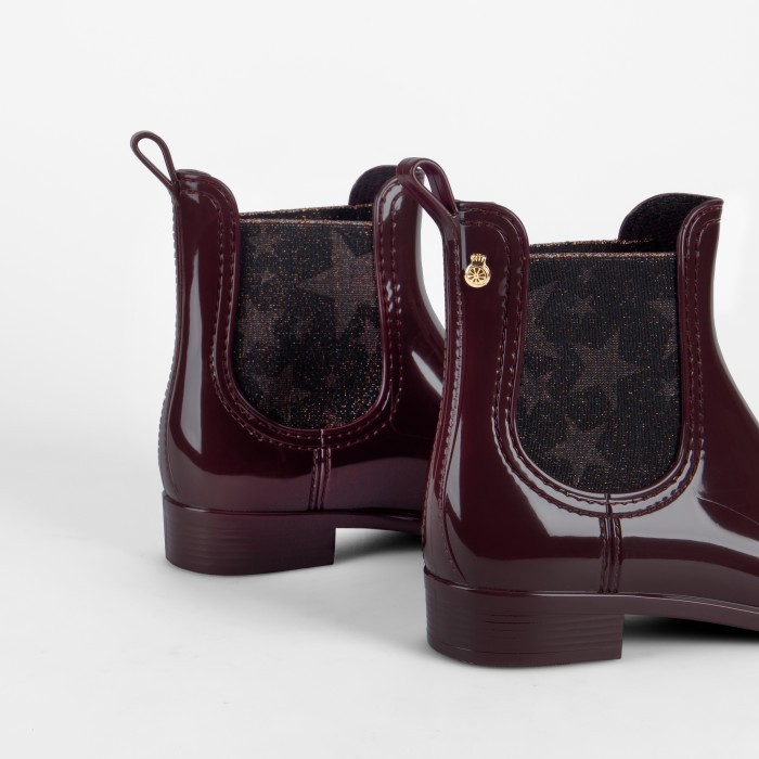 Lemon Jelly Bordeaux Rain Boots with Star Pattern | JANIS 02