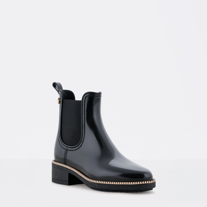 Lemon Jelly | Black Ankle Rain Boots with Heel | Women AVA 01