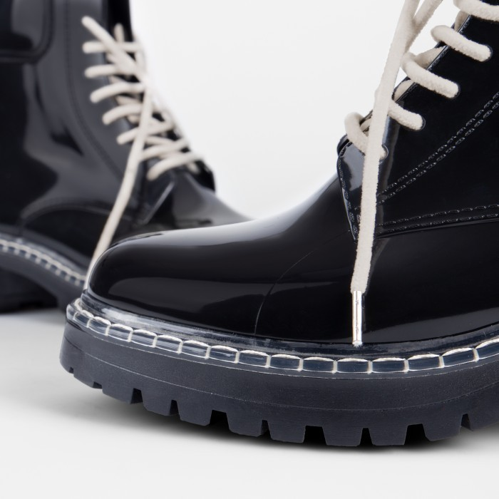 Lemon Jelly | Woman Laced Up Black Combat Boots | Women LANDA 01