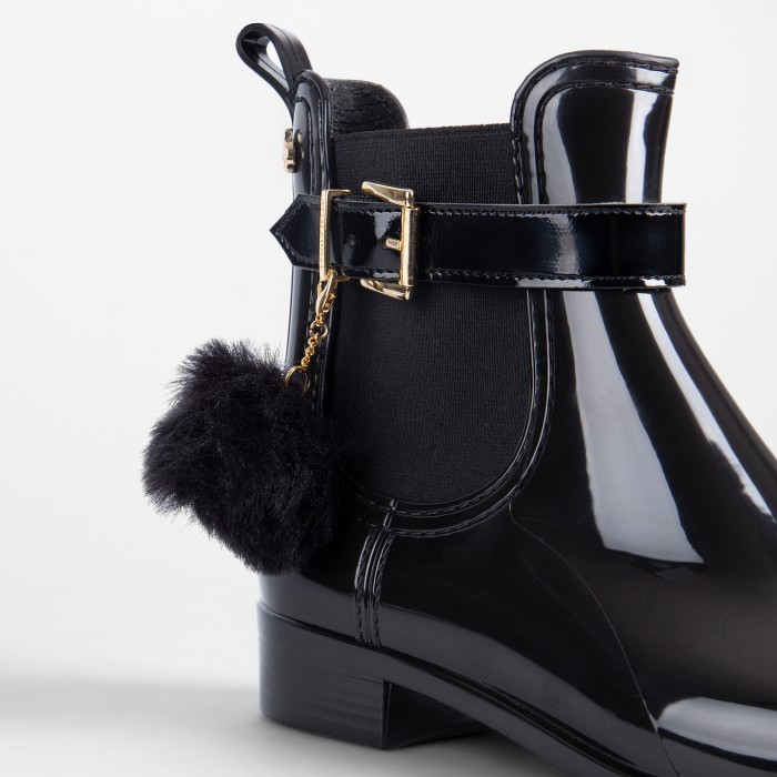 Lemon Jelly | Black Rain Boots with a Pom Pom | Women BAILEY 01