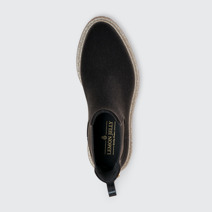Lemon Jelly Brown Platform Rain Boots with Glitter DEE 01