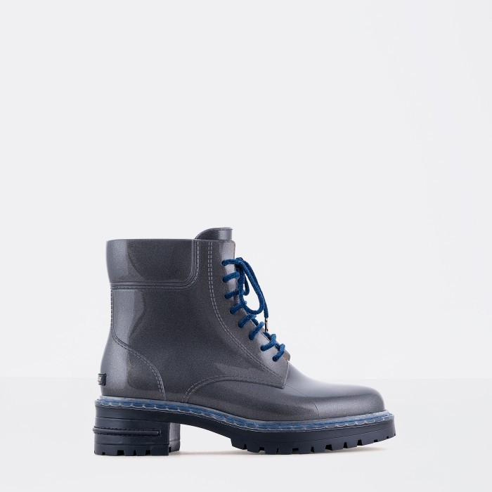 Lemon Jelly | Woman Laced Up Grey Combat Boots | Women LANDA 02