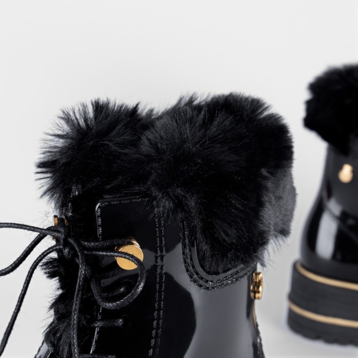 Lemon Jelly | Woman Laced Up Black Combat Boot with Fur DEVYN 01