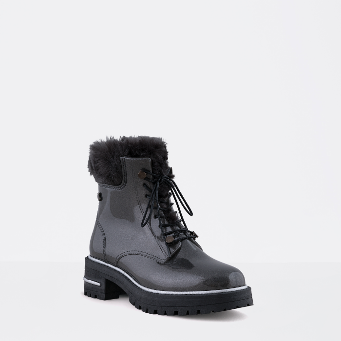 Lemon Jelly Woman Laced Up Grey Combat Boots with Fur DEVYN 02