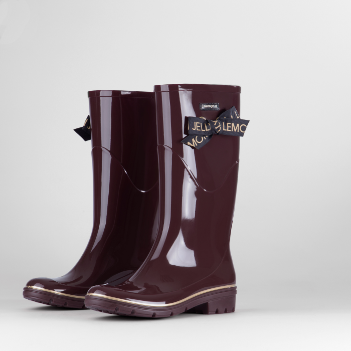 Lemon Jelly | Bordeaux Knee High Boots with Lace | Women JILIAN 02