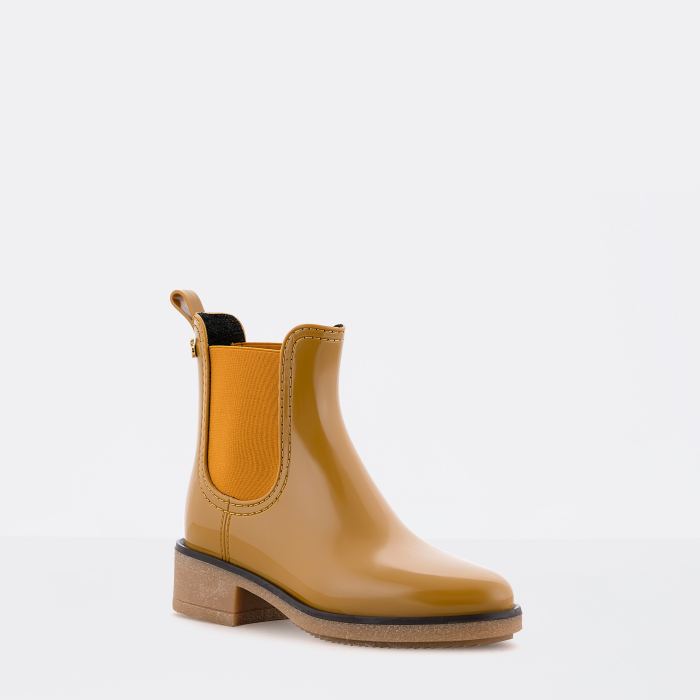 Lemon Jelly | Yellow Ankle Boots with Heel | Vegan Shoes AVA 05