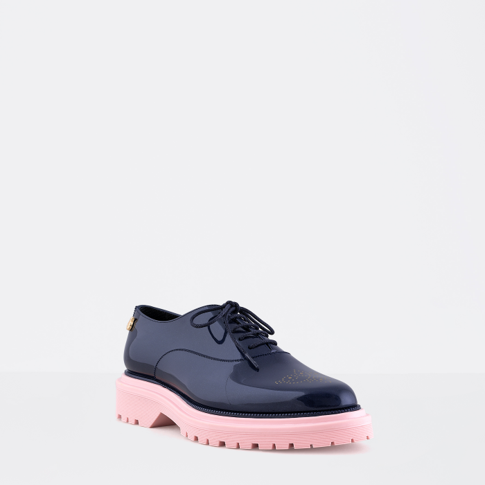 Lemon Jelly | Woman Blue Oxford Shoes with Platform CAM 05