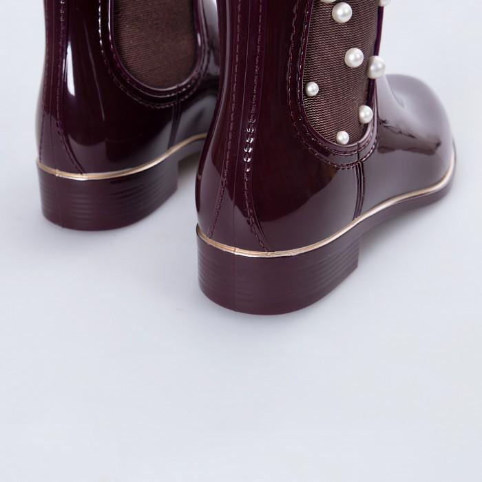 Lemon Jelly | Bordeaux Ankle Boots with Pearls | Woman ESTÉR 02