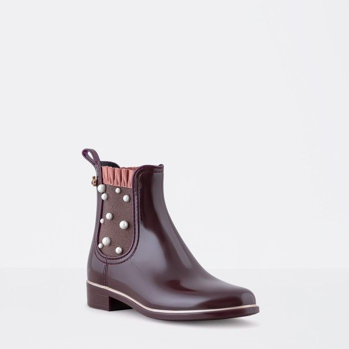 Lemon Jelly | Bordeaux Ankle Boots with Pearls | Woman ESTÉR 02