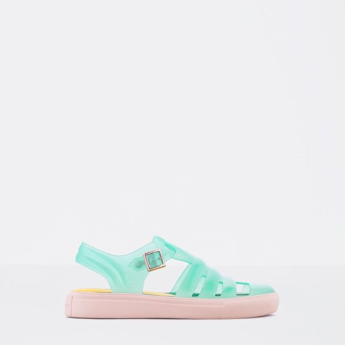 Lemon Jelly | Clear Mint Fisherman Jelly Sandals CRYSTAL 15