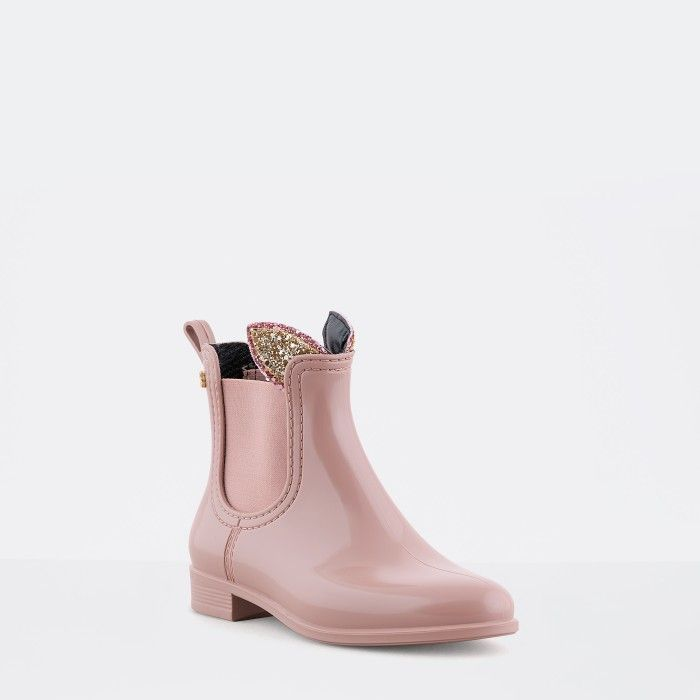 Lemon Jelly | Pink Girl Ankle Rain Boots with Glitter FAUN 12