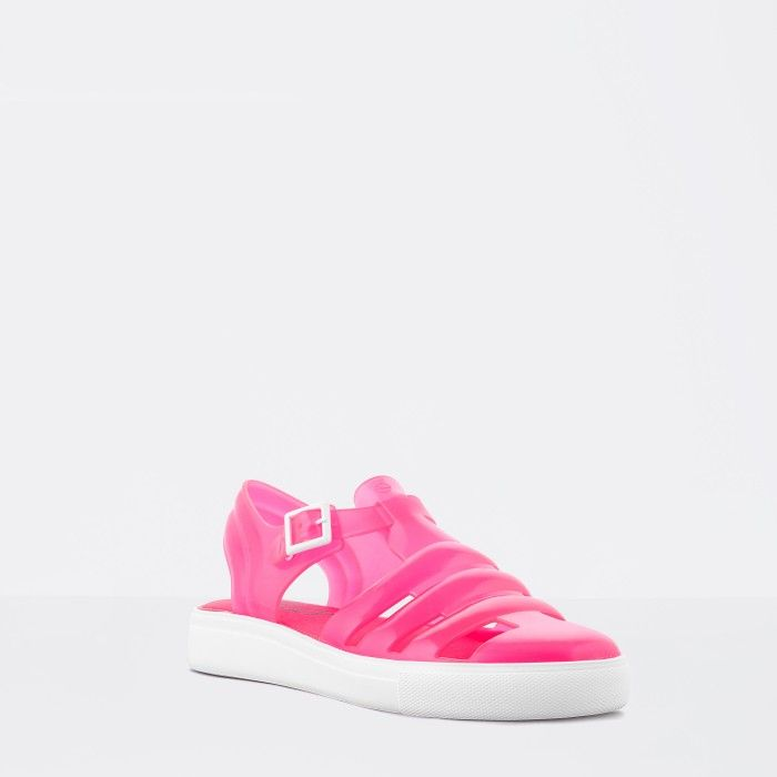 Lemon Jelly | Clear Neon Pink Fisherman Jelly Sandals CRYSTAL 11