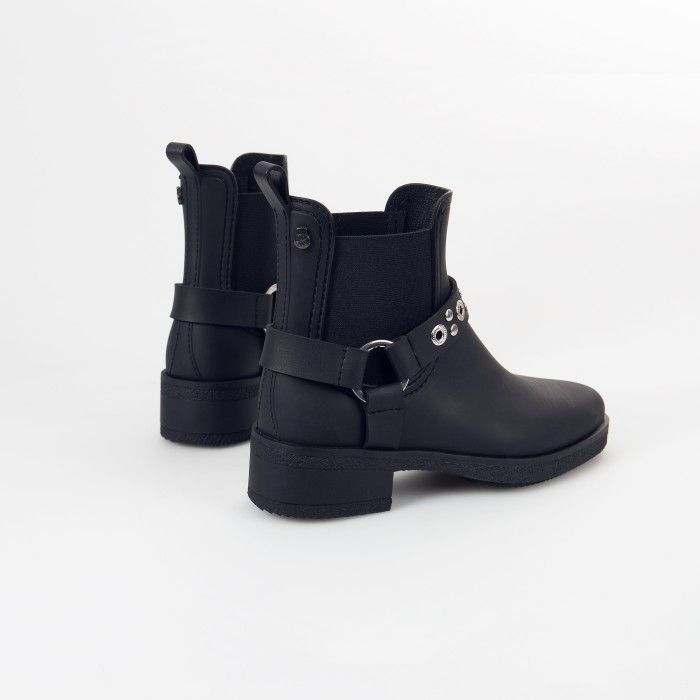 Lemon Jelly Black Ankle Summer Boots with Heel TEXAS 01