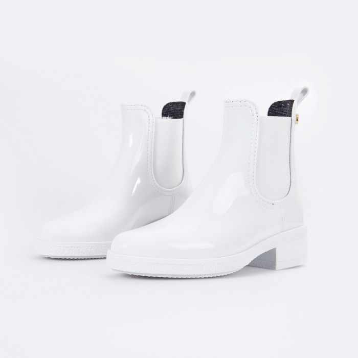 Lemon Jelly | White Ankle Rain Boots with Heel | Women AVA 07