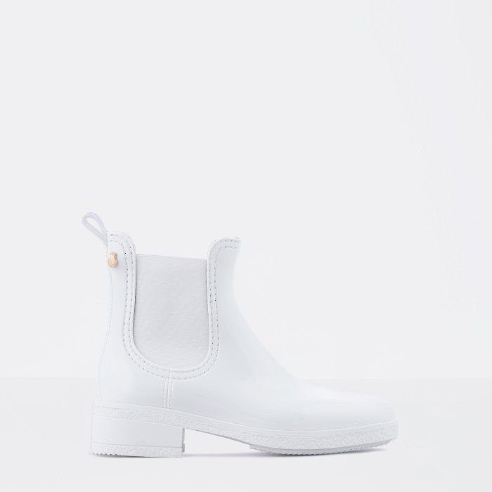 Lemon Jelly White Ankle Rain Boots with Heel | Women AVA 07