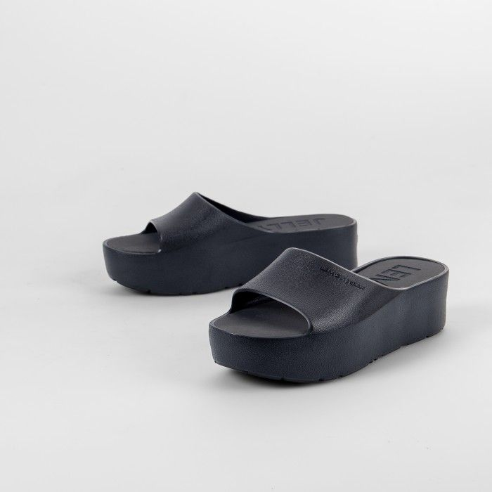 Lemon Jelly | Black Platform Slides for Woman SUNNY 01