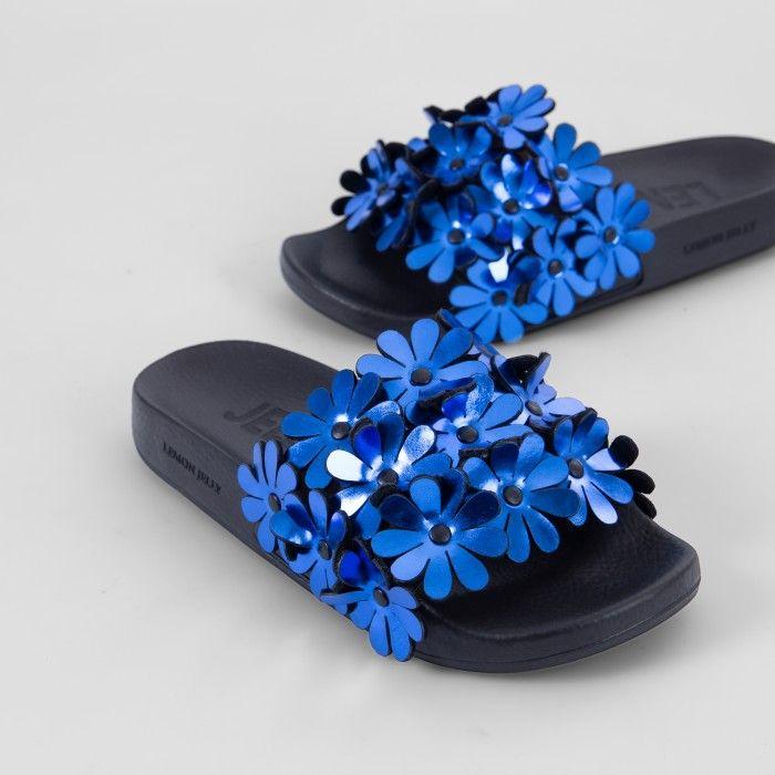 Lemon Jelly | Blue Woman Slides with Flowers | Women SHILOH 01