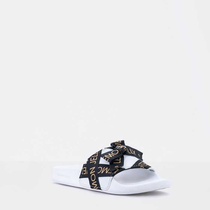 Lemon Jelly | White Woman Slides with Bow | Summer Slides LYSSA 02