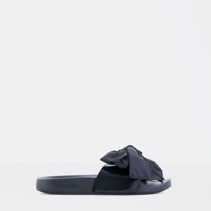 Lemon Jelly | Clear Black Woman Slides with Bow | Women NYLA 01