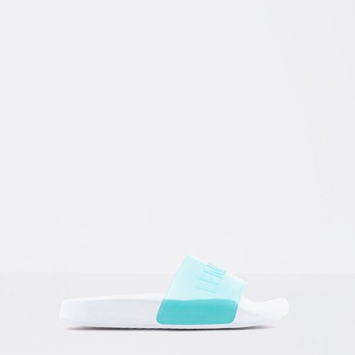 Lemon Jelly | Clear Min Woman Slides with Letters NEON 03