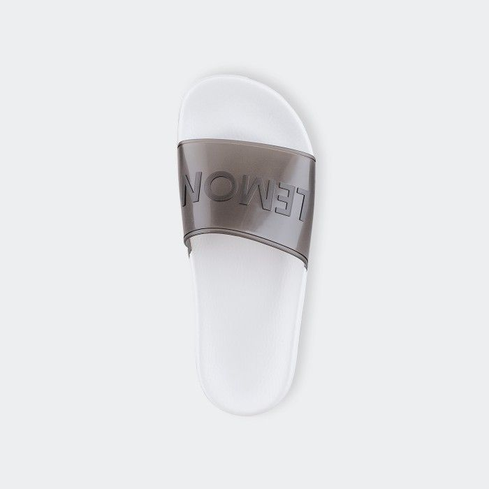 Lemon Jelly | Clear Black Woman Slides with Letters NEON 01