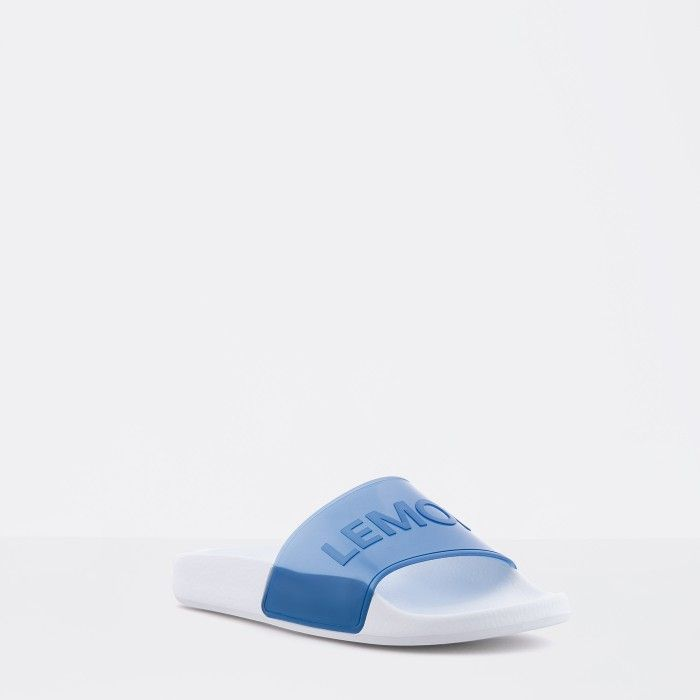 Lemon Jelly | Clear Blue Woman Slides with Letters NEON 02