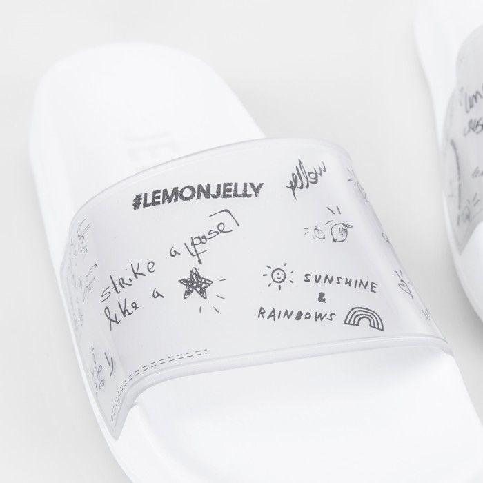 Lemon Jelly | White Woman Slides with Doodles | Women LESLIE 01