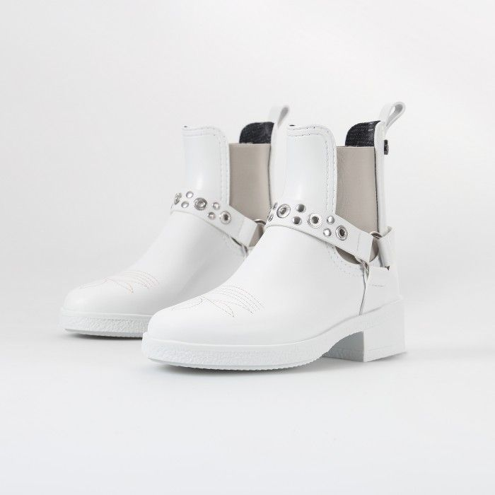 Lemon Jelly | White Ankle Summer Boots with Heel TEXAS 02