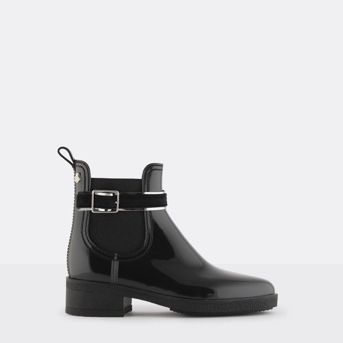 Lemon Jelly | Black Ankle Boots with Buckle | Vegan Shoes LUZ 01